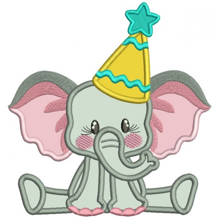Cute Little Birthday Elephant Applique Machine Embroidery Design Digitized Pattern