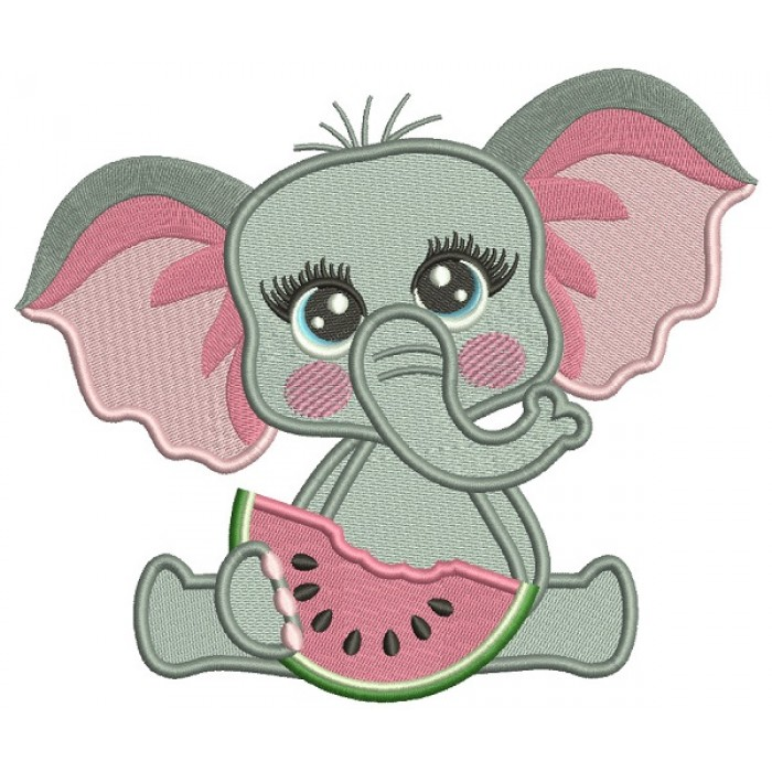 Cute Little Girl Elephant Eating Watermelon Filled Machine Embroidery Digitized Design Pattern