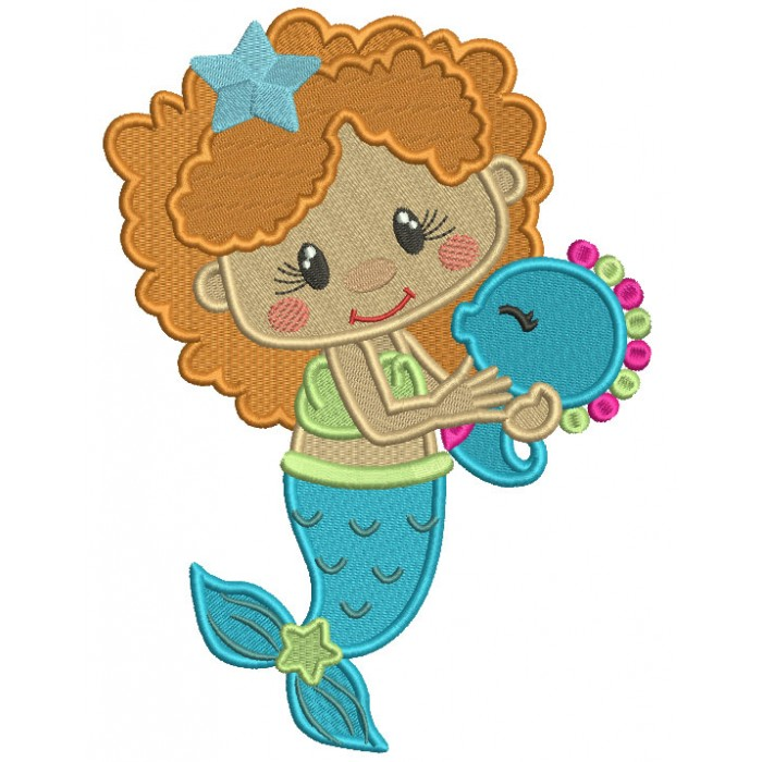 Cute Little Mermaid With a Star In Her Hair Filled Machine Embroidery Design Digitized Pattern