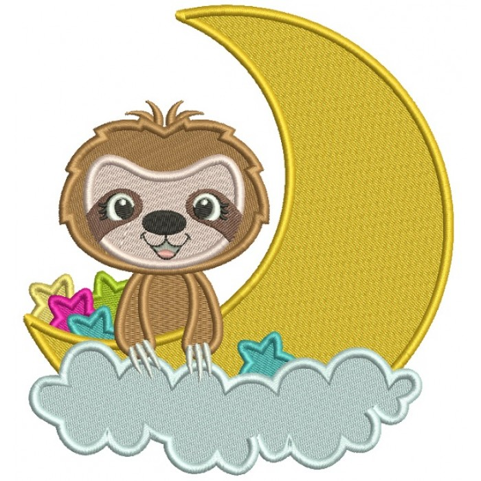 Cute Little Mongoose Sitting On The Moon Filled Machine Embroidery Design Digitized Pattern
