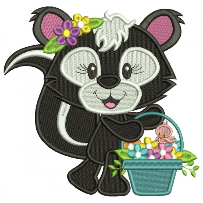 Cute Little Skunk Holding Flowers Filled Machine Embroidery Design Digitized Pattern