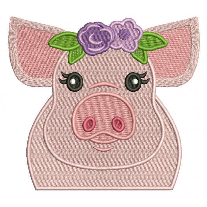 Cute Piggy With Flower Head Band Filled Machine Embroidery Design Digitized Pattern