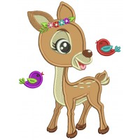 Cute Reindeer And Flying Birds Applique Machine Embroidery Digitized Design Pattern