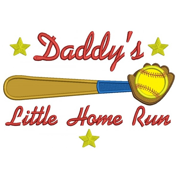 Daddy\'s Little Home Run Baseball Applique Machine Embroidery Design ...