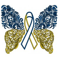 Down Syndrome Ornate Butterfly Applique Machine Embroidery Design Digitized Pattern