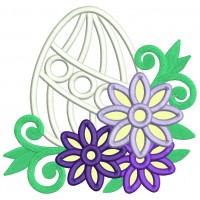 Easter Egg With Flowers and Green Vines Applique Machine Embroidery Design Digitized Pattern