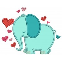 Elephant With Hearts Valentine's Day Applique Machine Embroidery Design Digitized Pattern