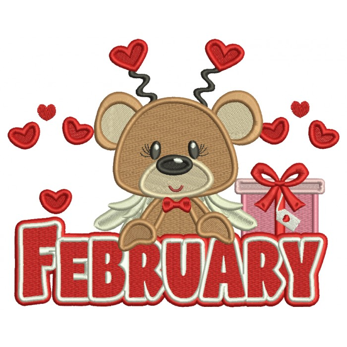 February Bear Valentine's Day Filled Machine Embroidery Design Digitized Pattern