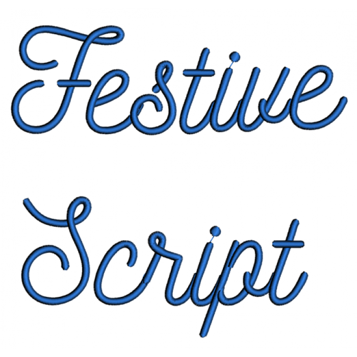 Festive Script Machine Embroidery Font Upper and Lower Case 1 2 3 inches