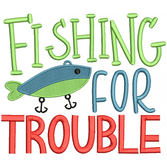 Fishing For Trouble Filled Machine Embroidery Design Digitized Pattern