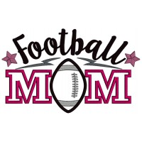 Football Mom With Stars Applique Machine Embroidery Design Digitized Pattern