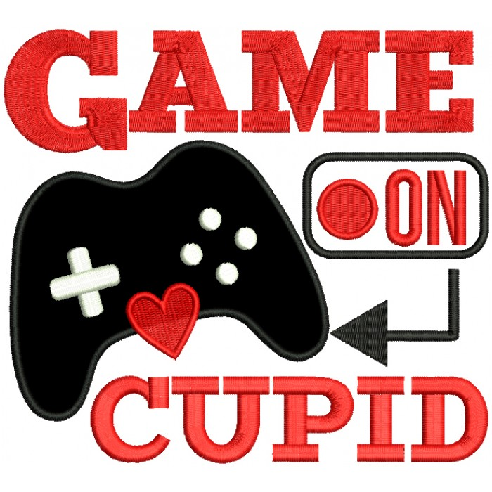 Game On Cupid Valentine's Day Applique Machine Embroidery Design Digitized Pattern