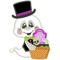 Ghost With Big Hat Holding Halloween Basket Applique Machine Embroidery Design Digitized Pattern
