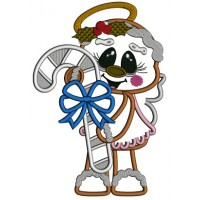 Gingerbread Girl Angel Holding Candy Cane Applique Christmas Machine Embroidery Design Digitized Pattern