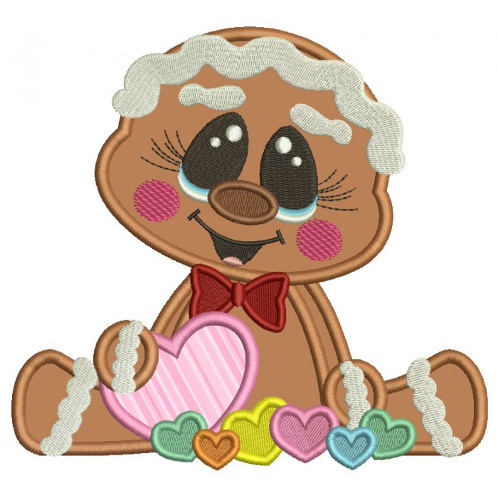 Gingerbread Girl Holding Heart Valentine's Day Applique Machine Embroidery Design Digitized Pattern
