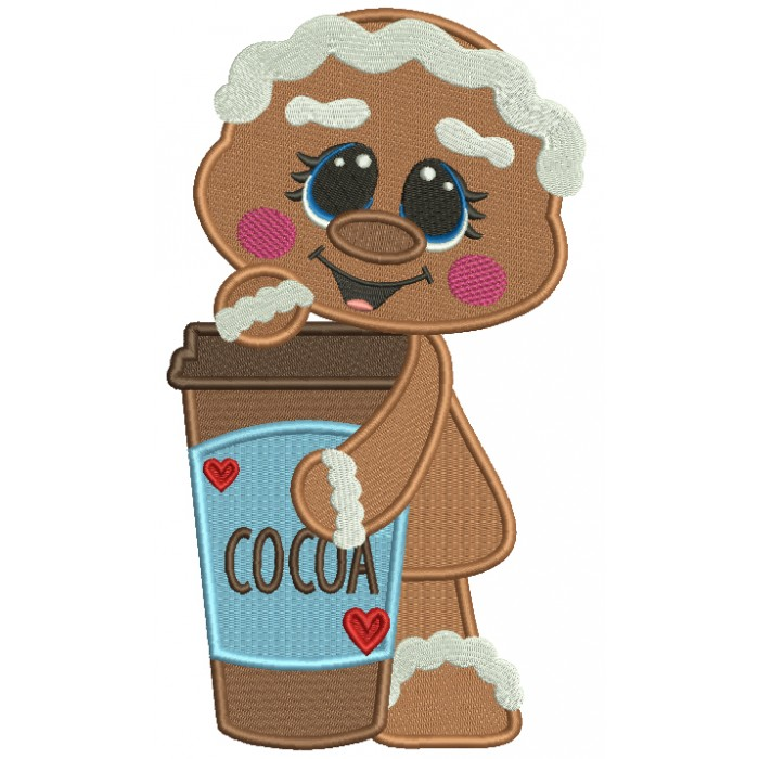 Gingerbread Girl Holding a Drink Filled Machine Embroidery Design Digitized Pattern
