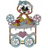 Gingerbread Girl Sitting Inside a Christmas Wagon Applique Christmas Machine Embroidery Design Digitized Pattern
