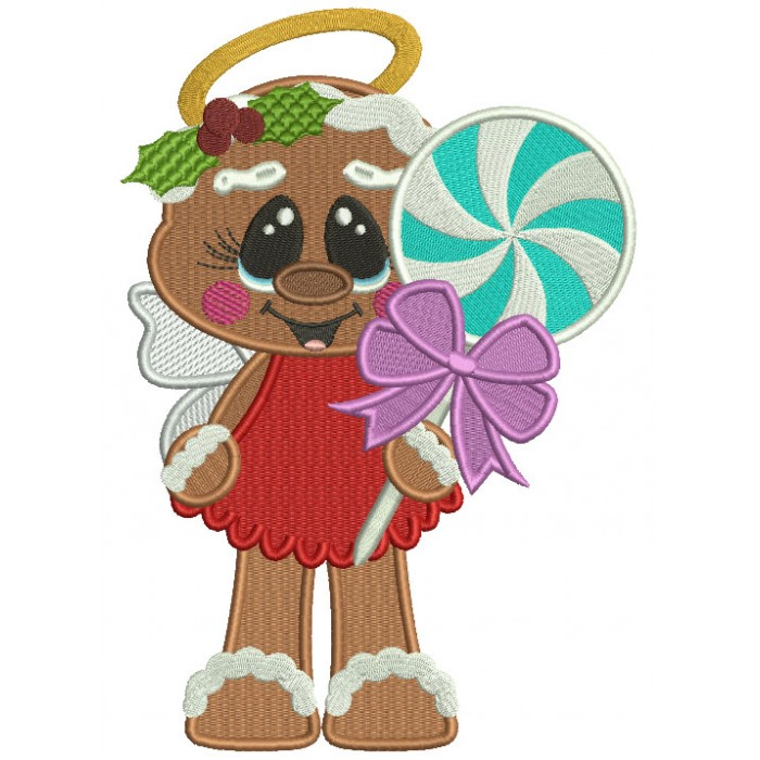 Gingerbread Man Angel Holding a Popsicle Filled Christmas Machine Embroidery Design Digitized Pattern