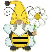 Gnome Bee Holding a Flower Applique Machine Embroidery Design Digitized Pattern