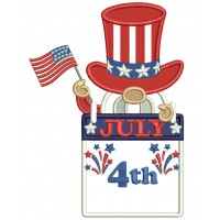 Gnome Holding American Flag 4th Of July Patriotic Applique Machine Embroidery Design Digitized Pattern