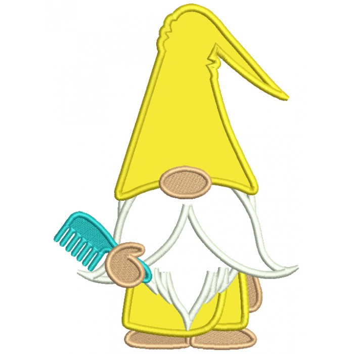 Gnome Holding a Hair Comb Applique Machine Embroidery Digitized Design Pattern