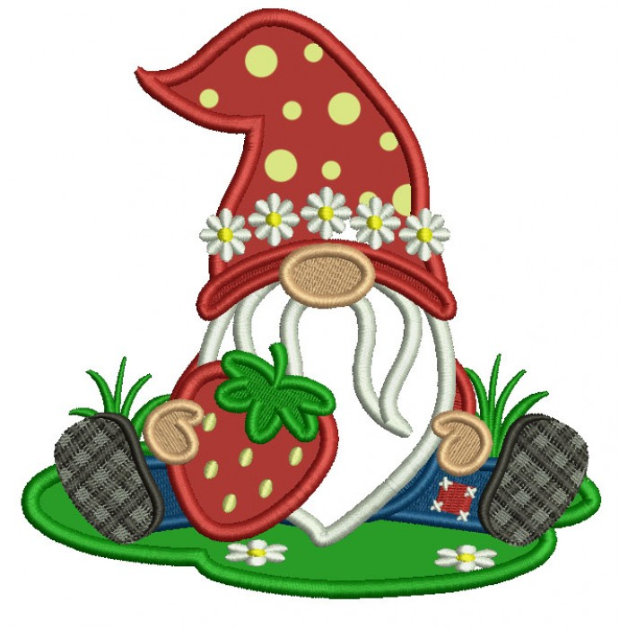 Gnome Holding a Strawberry Applique Machine Embroidery Design Digitized Pattern