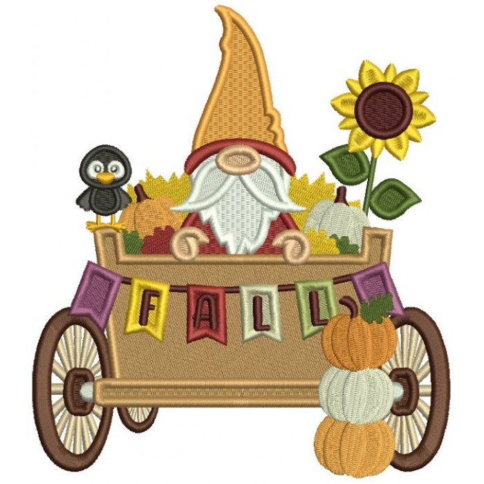 Gnome Sitting In The Wagon With Pumpkins Fall Filled Machine Embroidery Design Digitized Pattern