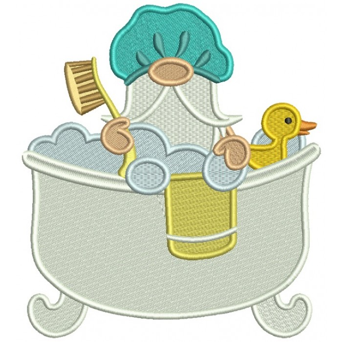 Gnome Taking a Bath Filled Machine Embroidery Digitized Design Pattern