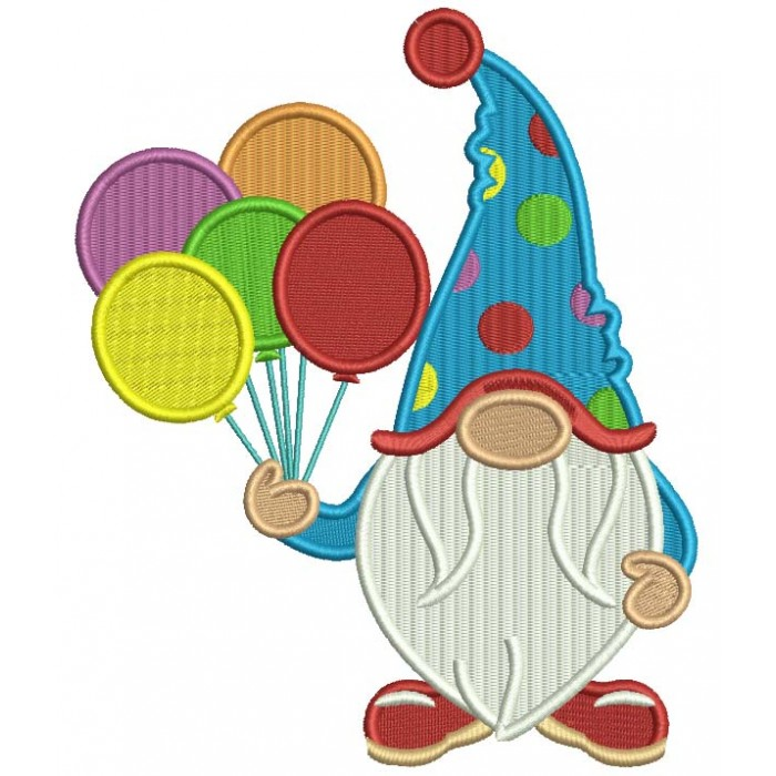 Gnome WIth Five Balloons Birthday Filled Machine Embroidery Design Digitized Pattern