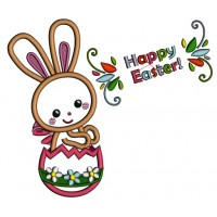 Happy Easter Bunny INside Egg Applique Machine Embroidery Design Digitized Pattern