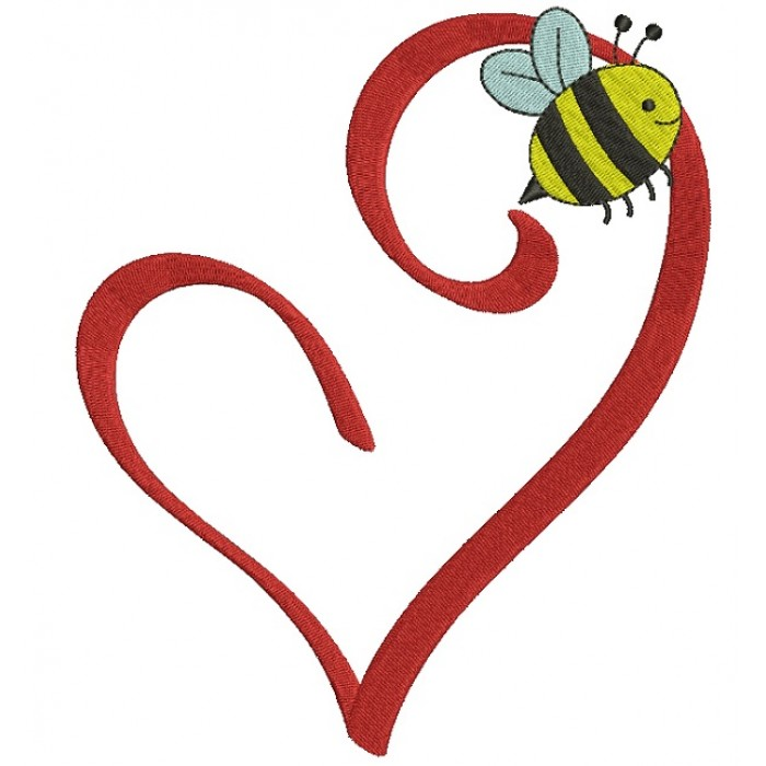 Heart With A Bee Filled Machine Embroidery Design Digitized Pattern