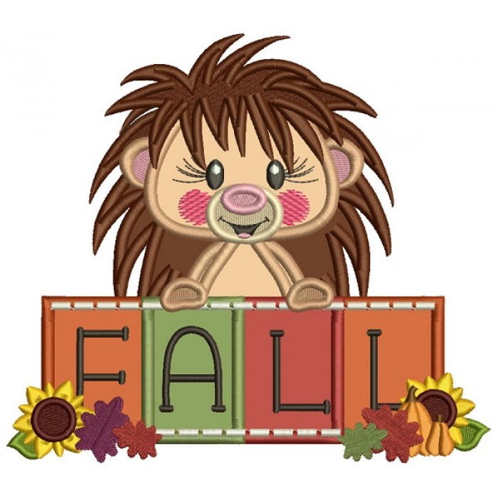 HedgeHog Holding Fall Sign Applique Machine Embroidery Design Digitized Pattern