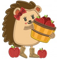 Hedgehog Holding Basket With Apples Thanksgiving Applique Machine Embroidery Design Digitized Pattern