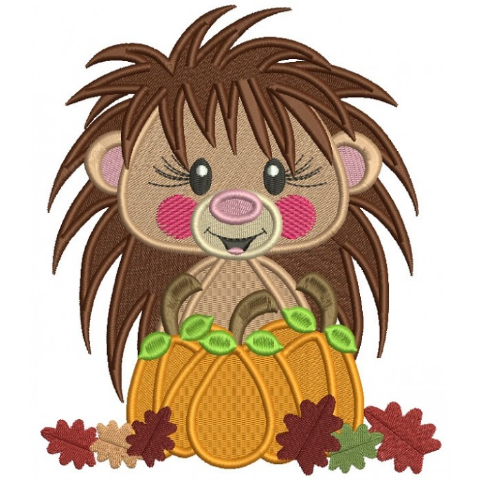 Hedgehog Holding Pumpkin With Leaves Thanksgiving Filled Machine Embroidery Design Digitized Pattern