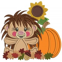 Hedgehog With Pumpkin and Sunflower Thanksgiving Applique Machine Embroidery Design Digitized Pattern