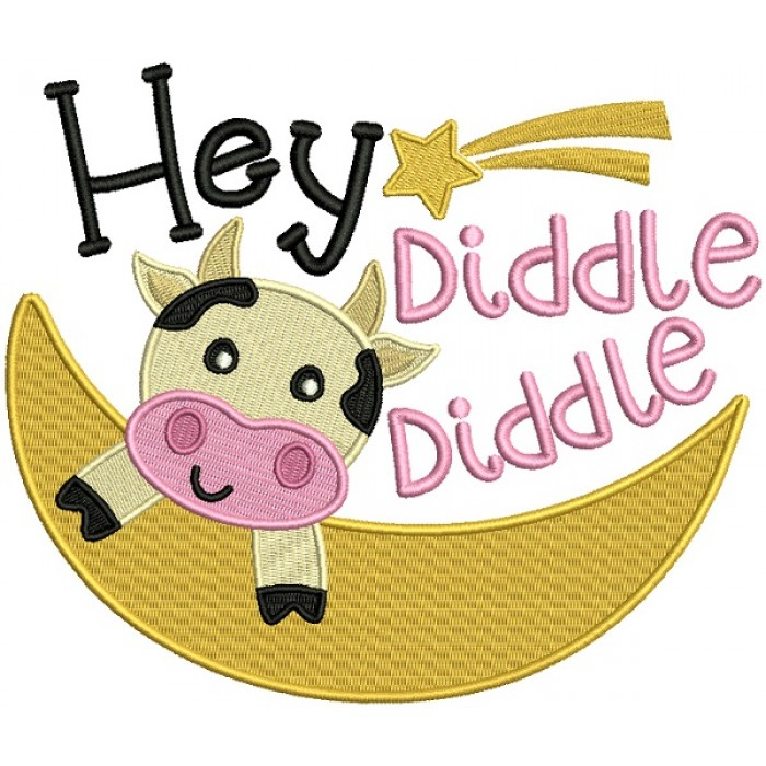 Hey Diddle Diddle Cow Flying Over The Moon Filled Machine Embroidery Design Digitized Pattern