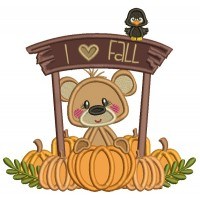 I Love Fall Cute Bear With Pumpkins Applique Machine Embroidery Design Digitized Pattern