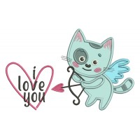 I Love You Little Cat Cupid Holding a Bow Applique Machine Embroidery Design Digitized Pattern