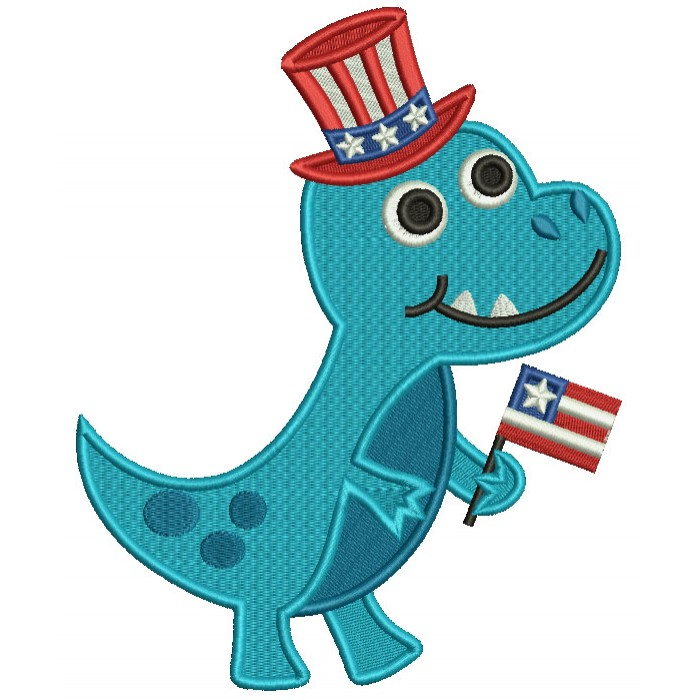 Independence Day Dino Holding American Flag Filled Machine Embroidery Design Digitized Pattern