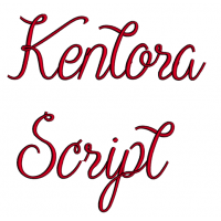 Kentora Script Machine Embroidery Font Upper and Lower Case 1 2 3 inches