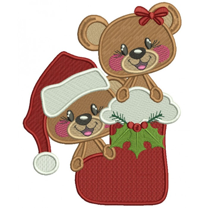 Little Boy And Girl Bear Sitting Inside Santa's Boot Filled Christmas Machine Embroidery Design Digitized Pattern