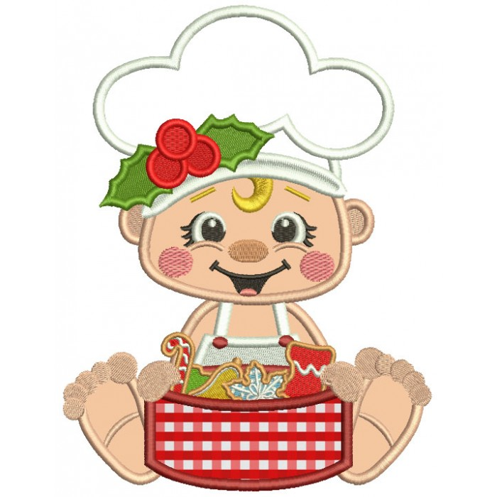 Little Cook With Box Of Cookies Christmas Applique Machine Embroidery Design Digitized Pattern