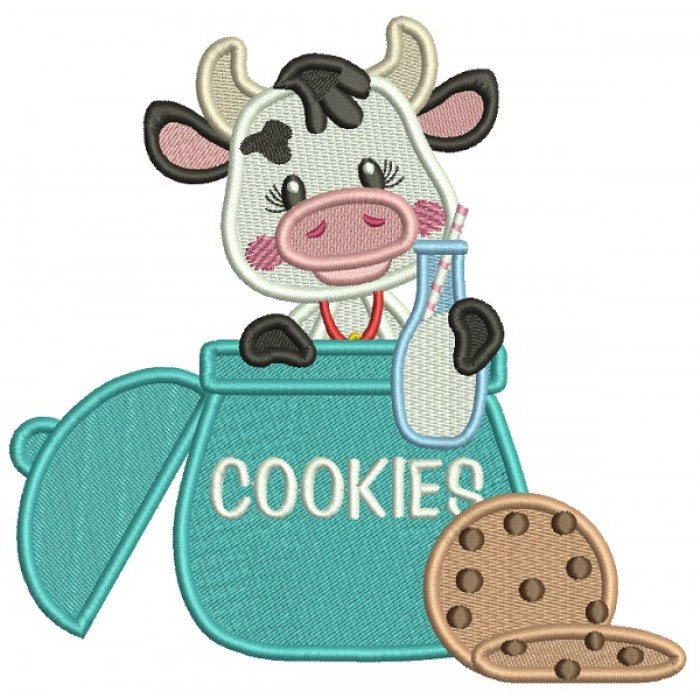 Little Cute Cow With Milk Sitting Inside Cookie Jar Filled Machine Embroidery Design Digitized Pattern