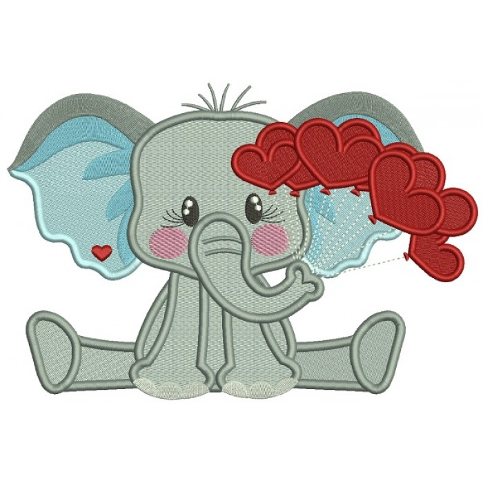 Little Elephant Holding Hearts On The String Filled Machine Embroidery Design Digitized Pattern