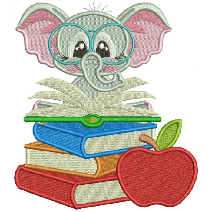 Little Elephant Reading a Book Filled Machine Embroidery Design Digitized Pattern