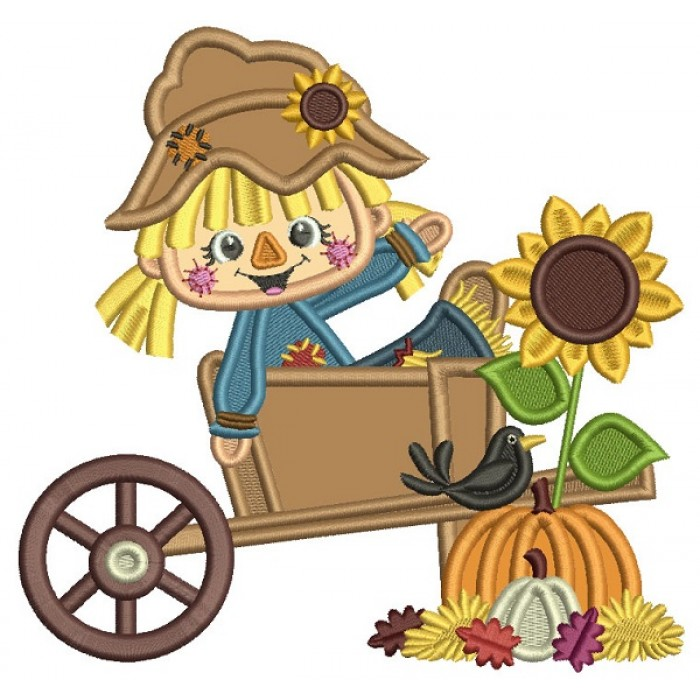 Little Farm Girl Sitting Inside Wagon With Pumpkins And Sunflower Thanksgiving Applique Machine Embroidery Design Digitized Pattern