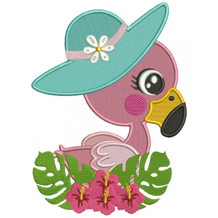 Little Flamingo Wearing a Big Hat Filled Machine Embroidery Design Digitized Pattern
