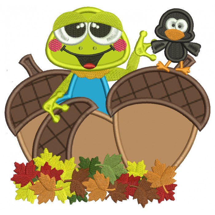 Little Frog With a Bird And Acorns Fall Applique Machine Embroidery Design Digitized Pattern