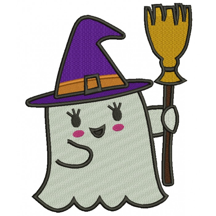 Little Ghost With a Broom Halloween Filled Machine Embroidery Design Digitized Pattern