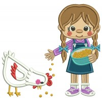 Little Girl Feeding a Rooster Applique Machine Embroidery Digitized Design Pattern